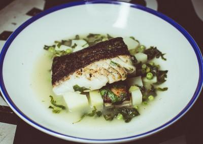 Cod - Fillet, Bacon Slab, Peas, Bibb Lettuce