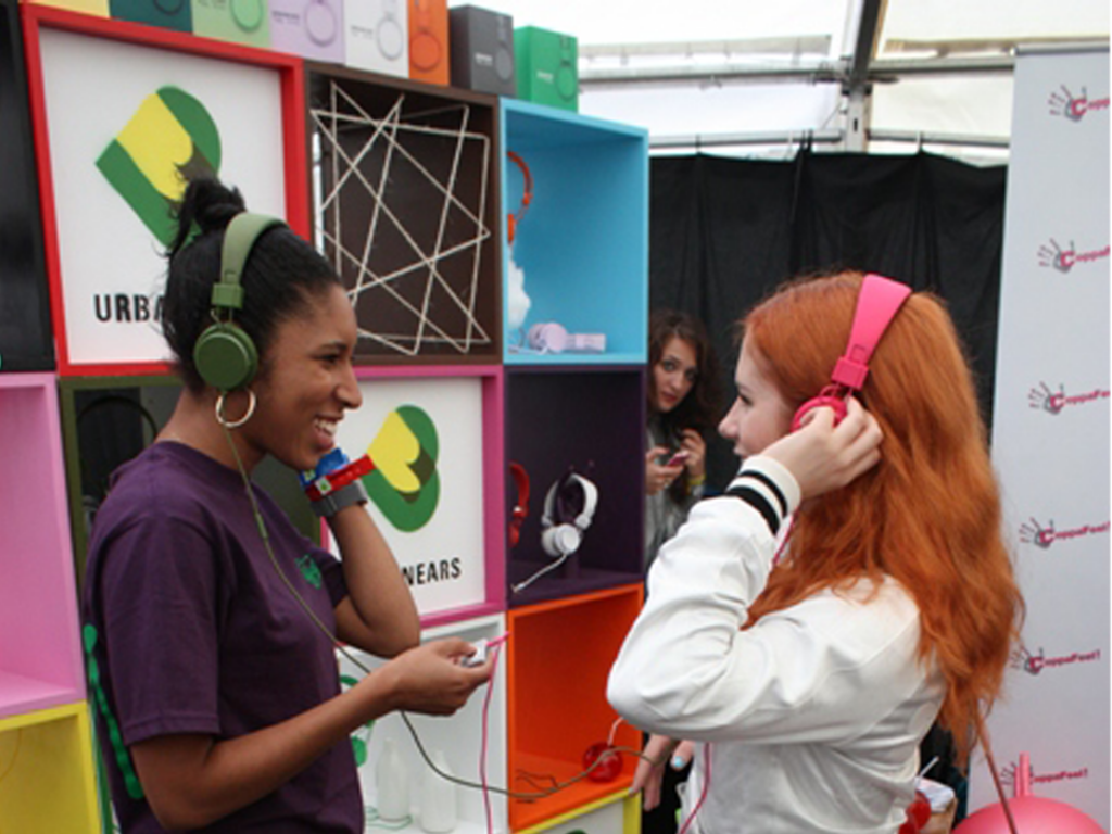 Katy B in Urbanears at Lovebox Festival