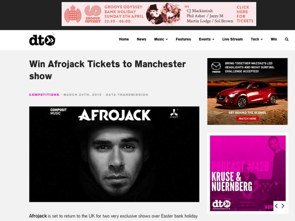 Win Tickets To Afrojack Gig With Data Transmission