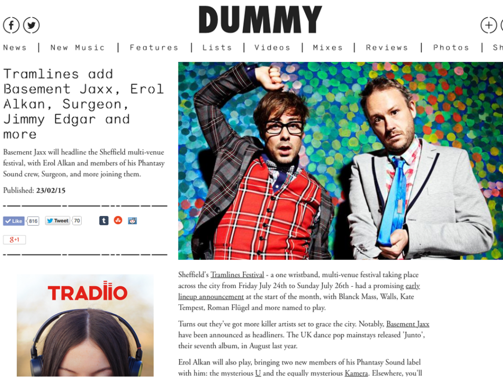Dummy exclusively announces Basement Jaxx to headline Tramlines Festival 2015