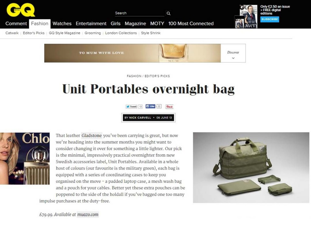 Unit Portables on GQ