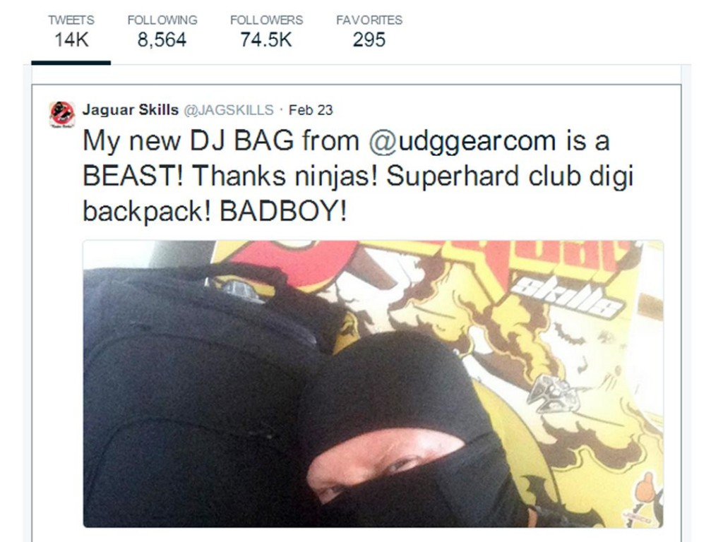 DJ Jaguar Skills Tweets about his new found love for UDG Gear bags!
