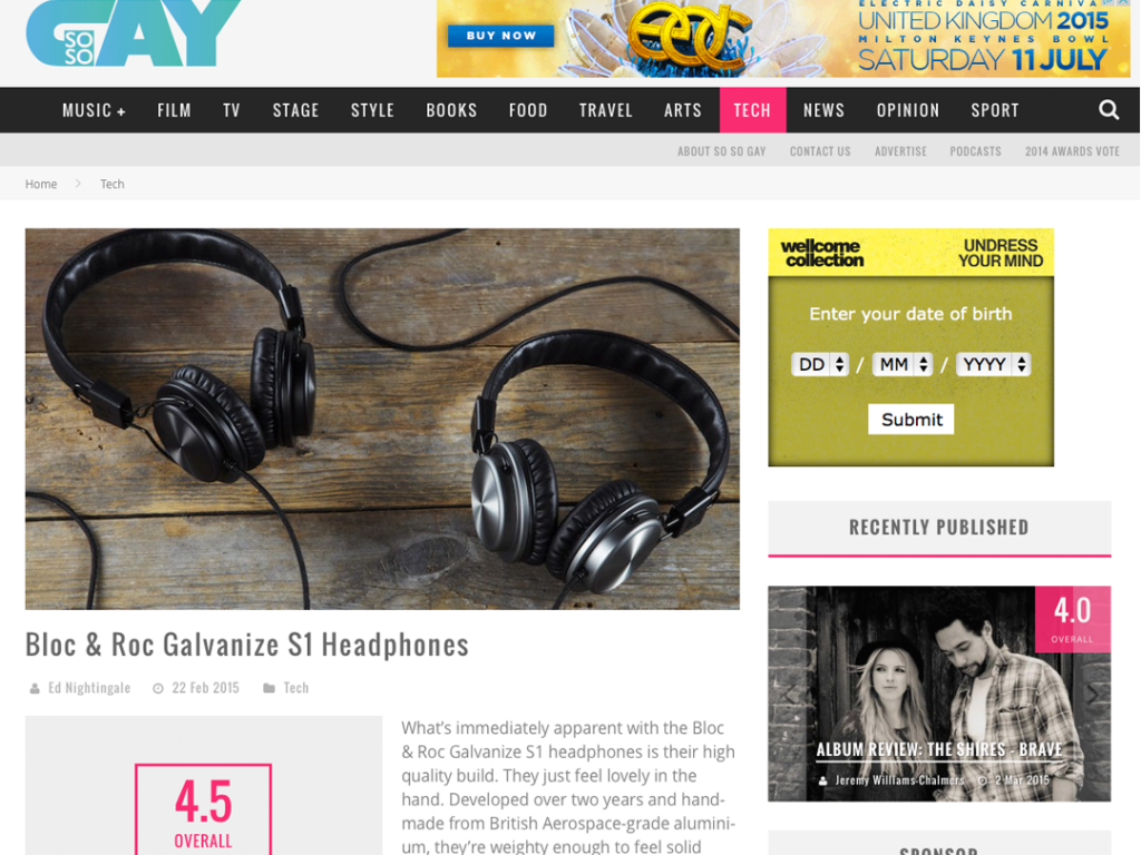 So So Gay reviews Bloc & Roc headphones