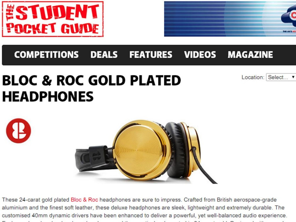 WIN! an amazing pair of 24-carat gold Bloc & Roc headphones!