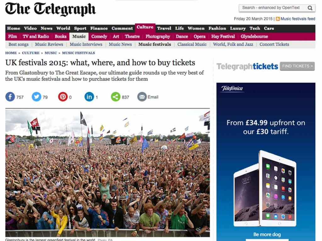 Tramlines 2015 featured in The Telegraph Festival Guide