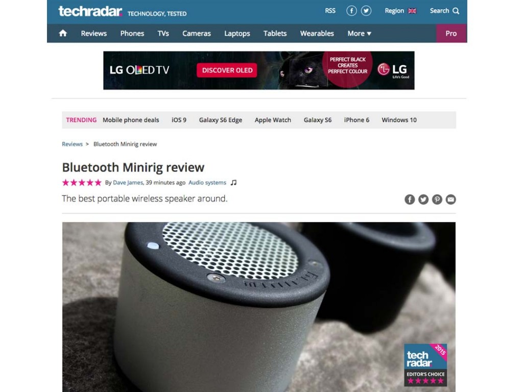 Tech Radar Gives Minirig 5 Stars And Editor's Choice!
