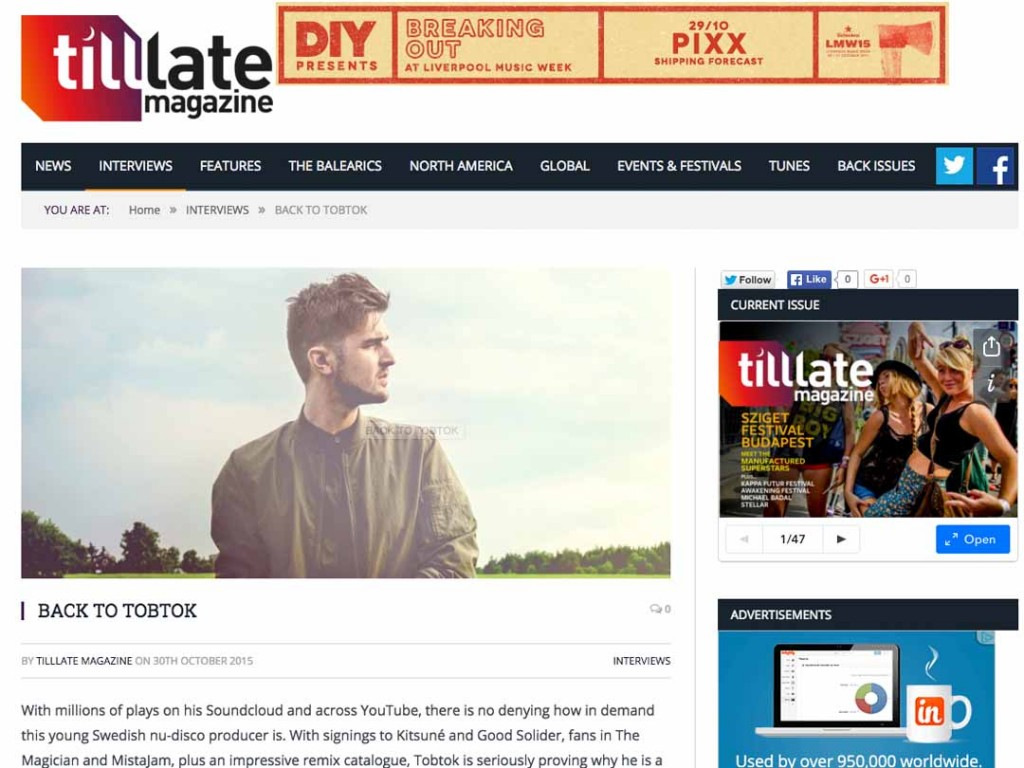 Tobtok on Tilllate Magazine