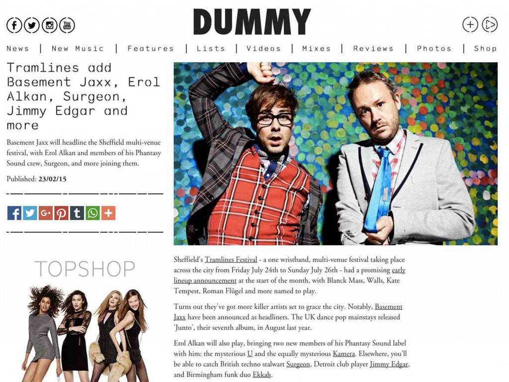 Tramlines featured in Dummy Mag