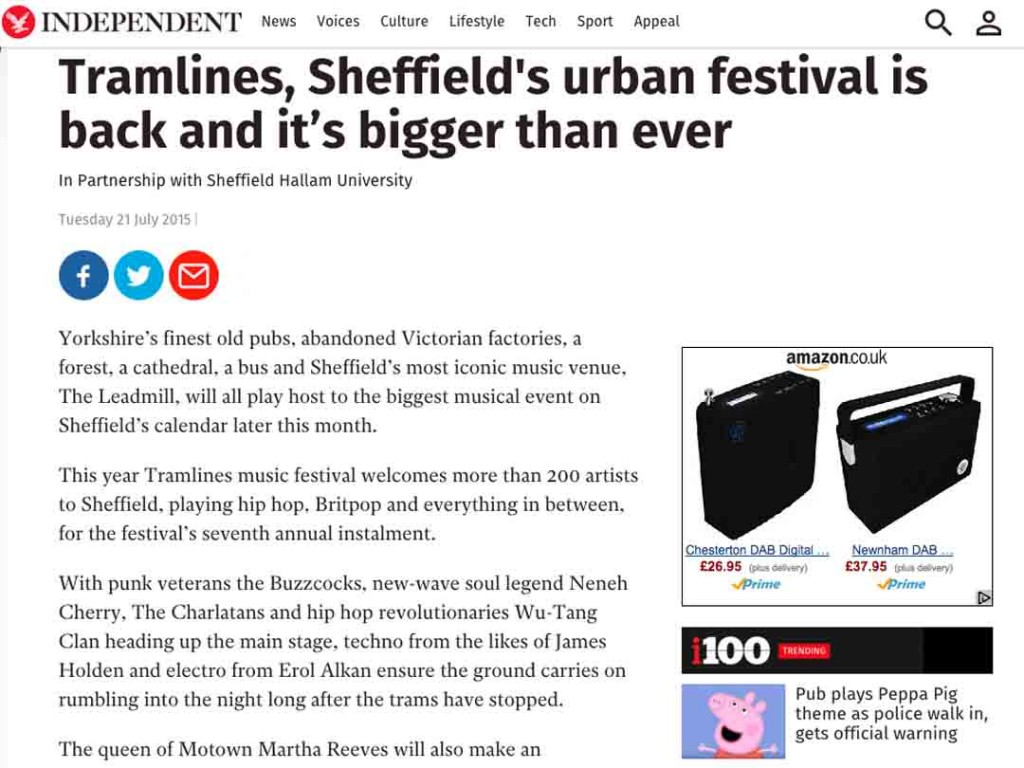 Tramlines in The Independent