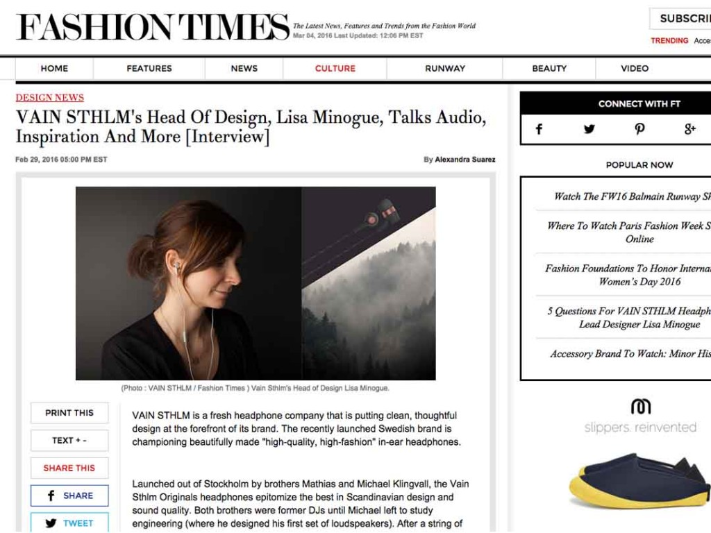 VAIN STHLM Designer Interviewed By NYC's Fashion Times