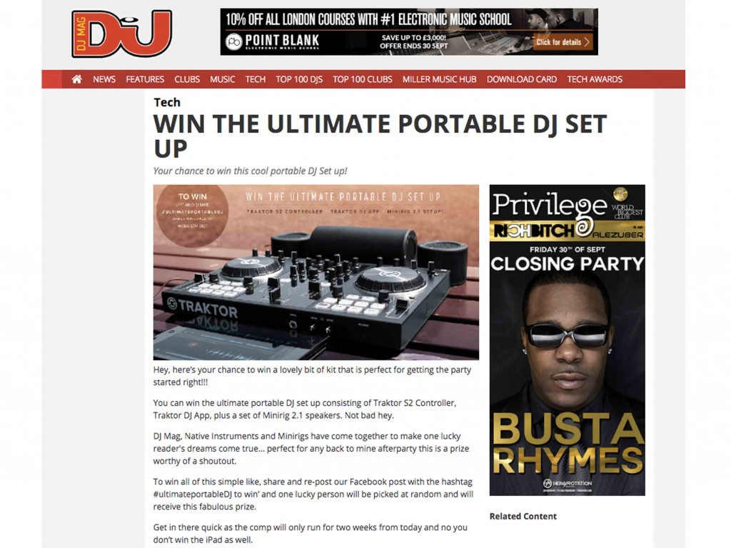 DJ Mag Launches Minirigs And Traktor 'Ultimate Portable DJ' Competition