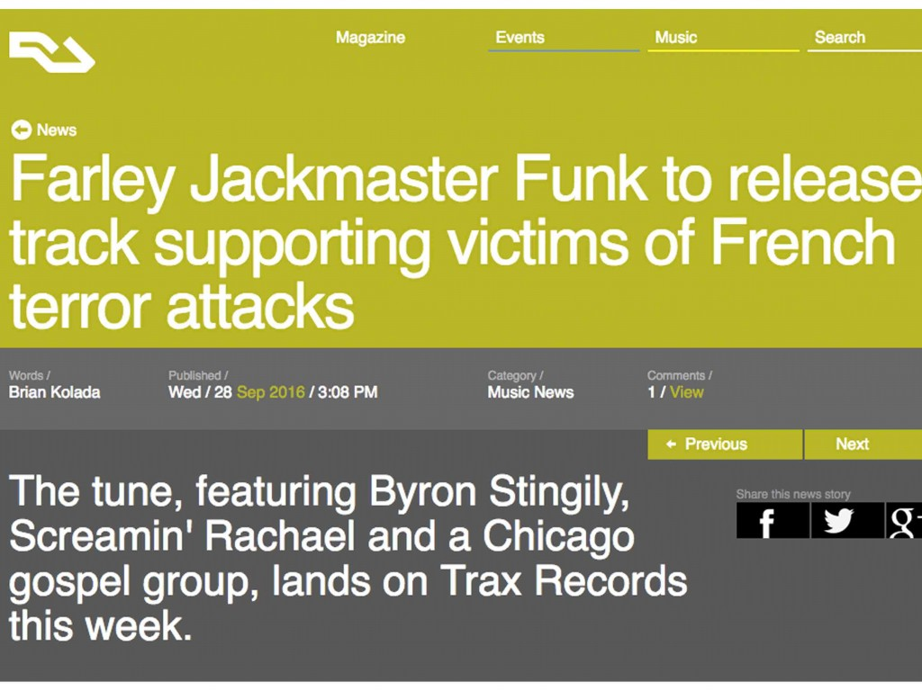 Resident Advisor Breaks Farley Jackmaster Funk Single News