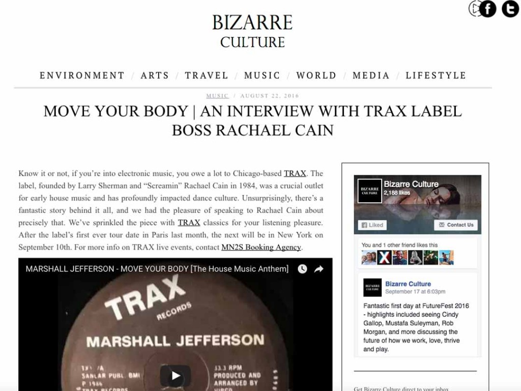 Bizarre Culture Interview TRAX Records Boss, Rachael Cain