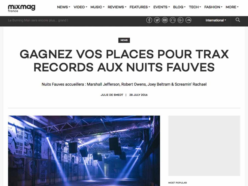 TRAX Records featured in Mixmag France