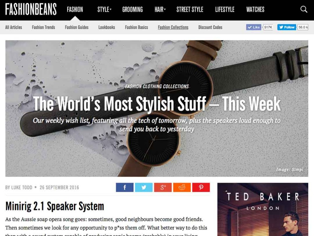 Fashion Beans List Minirigs 2.1 In 'World's Most Stylish Stuff'