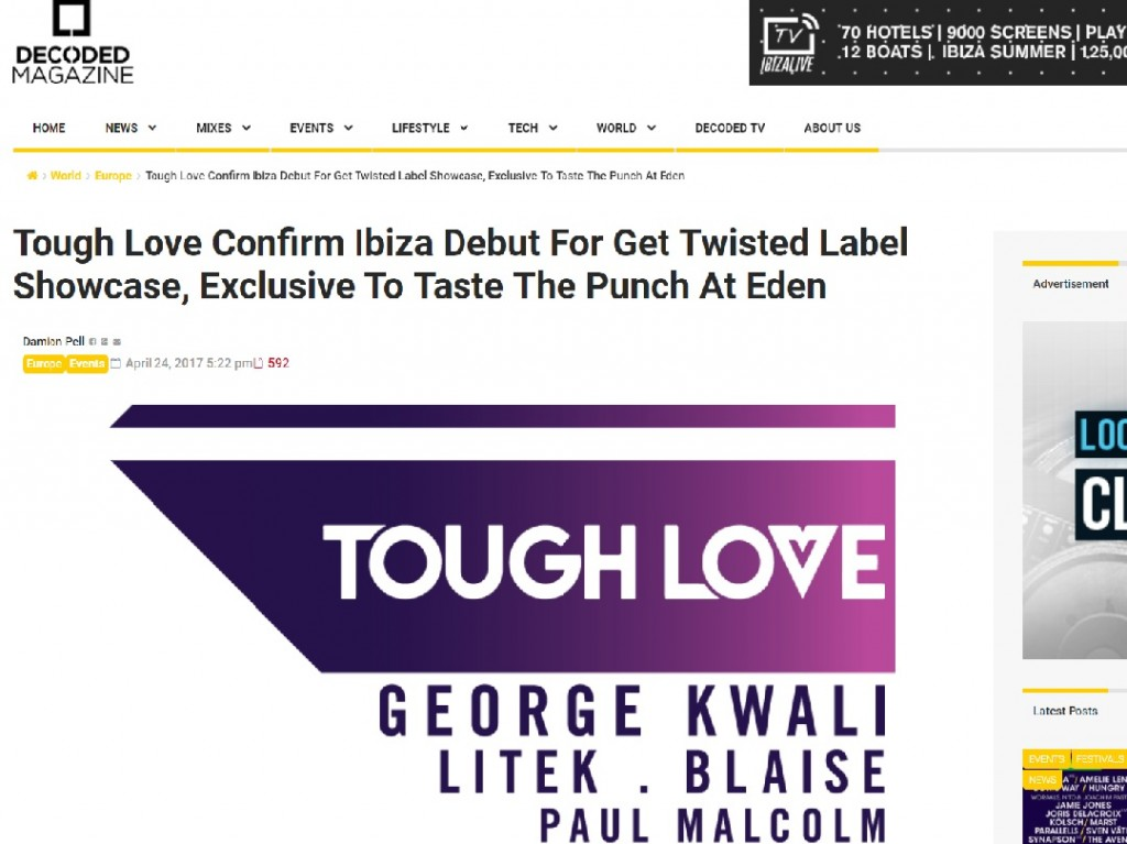 Get Twisted label confirms Ibiza exclusive with Decoded Magazine