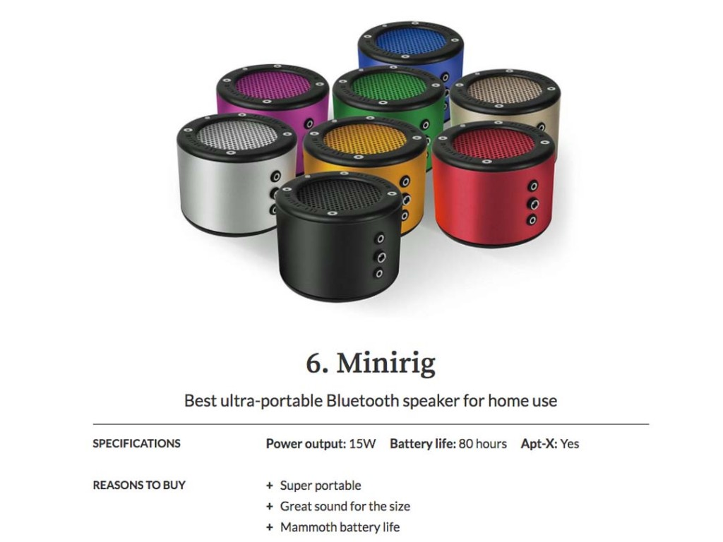 Minirig Included In T3's Best Bluetooth Speaker List 2017