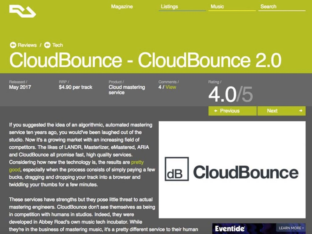 CloudBounce in Resident Advisor