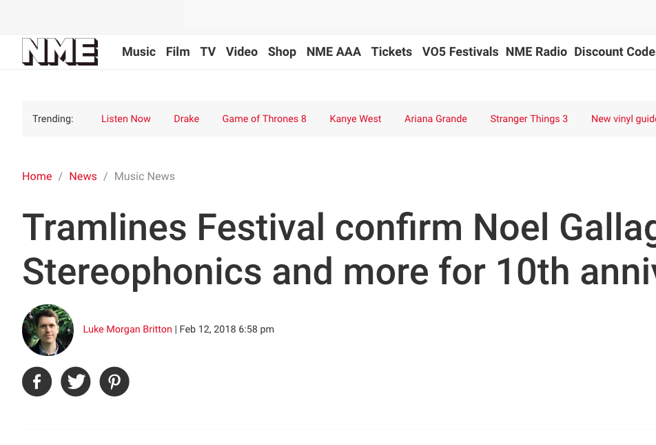 NME have The News of Tramlines's 2018 Headliners