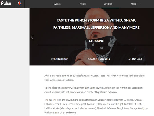 Taste The Punch Ibiza in Pulse Radio