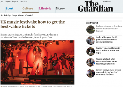 The Guardian Praise Tramlines's Good Value Tickets