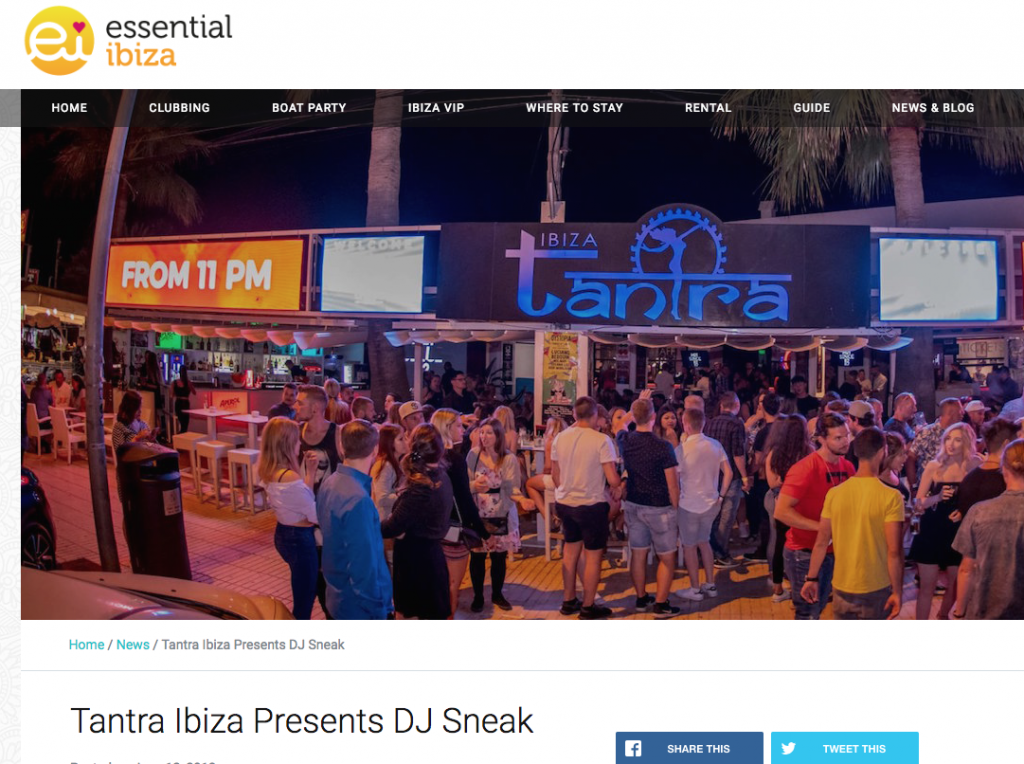 Essential Ibiza Announce DJ Sneak at Tantra Ibiza