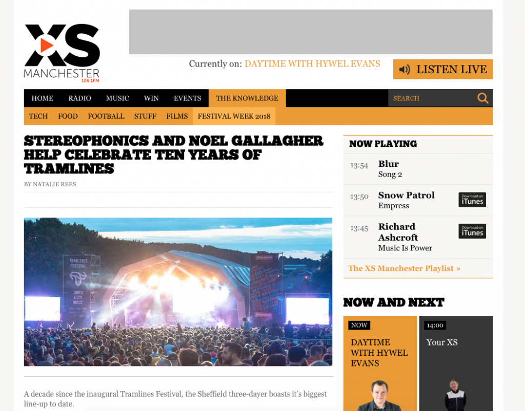 XS Manchester Announce Tramlines Headliners Noel Gallagher and Stereophonics