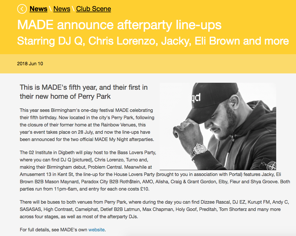 iDJ Magazine Announce MADE Afterparty Line-ups