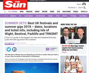 The Sun Include Tramlines in Their Best UK Festivals 2018 Feature
