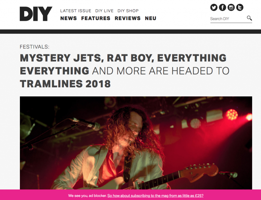 DIY Has the News of Tramlines 2018 Headliners