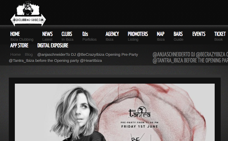 Ibiza Clubbing Have News of Anja Schneider Headlining Be Crazy Ibiza