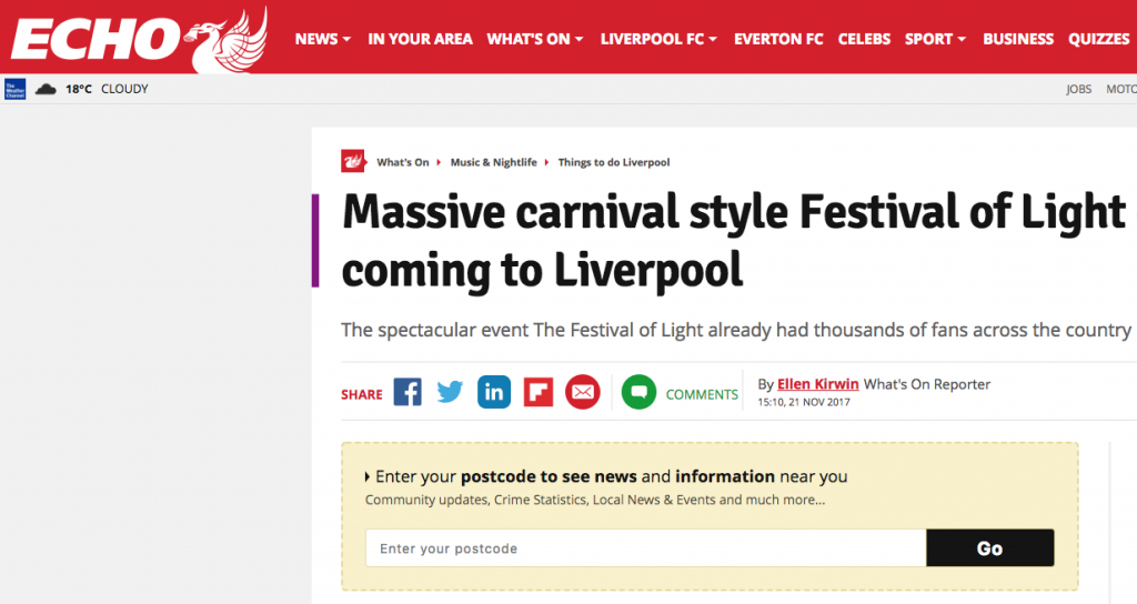 The Liverpool Echo Announces Festival of Light Headliners
