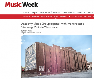 Music Week Have News of Academy Music Group's Expansion