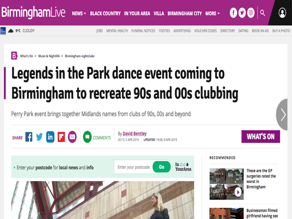 Birmingham Live Features Legends In The Park